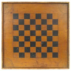 American Folk Art Game Chess Checker Board | From a unique collection of antique and modern game boards at http://www.1stdibs.com/furniture/folk-art/game-boards/