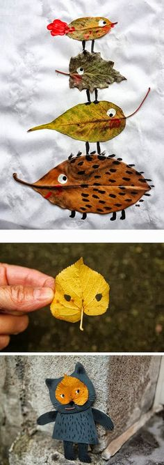 ▷ tolle Ideen zum Thema Basteln mit Blättern - tiere basteln aus getrockneten baumblättern, igel, bär, vogel, Estás en el lugar correcto para he - Kids Crafts, Leaf Crafts, Diy And Crafts, Arts And Crafts, Stick Crafts, Resin Crafts, Autumn Crafts, Autumn Art, Nature Crafts