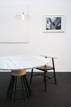 Mewoma table by Jonah Tagaki , Ronin chair by Frederik Werner & Emil Lagoni Valbak for La Chance - photo by Joséphine Aury - www. Design Furniture, Custom Furniture, Table Furniture, Corner Deco, Space Interiors, Coffe Table, Minimalist Interior, Table And Chairs, Dining Tables