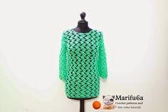 Gratis haak patronen en video tutorials: hoe groene trui aantrekken tuniek gehaakt door marifu6a video tutorial