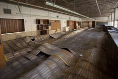 The warped floors of the abandoned and now demolished Cannon Recreation Center.