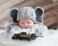 Crochet Newborn Baby Elephant hat & diaper by ComfyNCozyBoutique