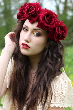 Velvet deep red flower crown flower child headpiece by rougepony