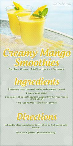 Creamy Mango Smoothies Recipe smoothie recipe recipes easy recipes smoothie recipes smoothies smoothie recipe easy smoothie recipes smoothies healthy smoothie recipes for weight loss