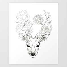 Deer With Flowers Deer antler tattoos on