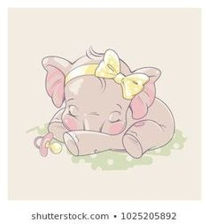 Cute little newborn baby elephant girl sleeping. Cartoon character of baby girl of 1 - 6 months old, with pacifier. Baby Elephant Drawing, Mom And Baby Elephant, Little Elephant, Elephant Love, Elephant Art, Elephant Nursery, Baby Elephant Images, Baby Girl Drawing, Baby Elephants