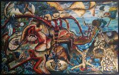"Pintura "" Tempo descontrolado "" - 2002 | Óleo sobe tela 230x150 cm | Custódio Almeida / 70 000€"