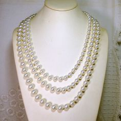 3 Strand Pearl Necklace Cheap Halloween by VintageStarrBeads, $7.99