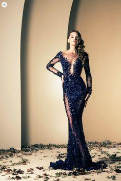 seductive evening dress in mid-night blue by Nakad