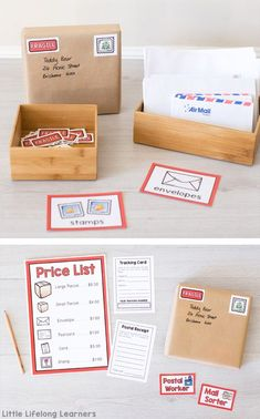 Ideas for setting up a Post Office dramatic play area at home or in your classroom. Printables for early childhood play-based learning. Dramatic Play Area, Dramatic Play Centers, Preschool Dramatic Play, Play Based Learning, Learning Through Play, Play Centre, Toddler Play, Toddler Bed, Creative Play