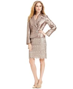 Satin Suits for Women | ... Metallic Jeweled Lace Satin Gold Women's 14P Petite Skirt Suit $320