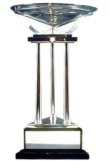 The Presidents' Trophy was presented to the NHL in by the League Board of Governors to recognize the team compiling the top regular-season record. In case of a tie, the team with the most wins is awarded this annual trophy. Hockey Trophies, Sports Trophies, Hockey Logos, Hockey Teams, Stars Hockey, Ice Hockey, Nhl Awards, Nhl Players, Vancouver Canucks