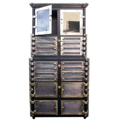 Industrial Dental Cabinet with incredible detail. Wonderful combination of materials. This is a rare piece.