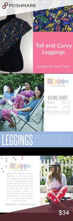 Feather Leggings Cute leggings. These are new and never worn. LuLaRoe does not attach tags to their leggings because they don't want to damage them attaching them. See second picture for sizing info. You can always check out my group if interested by searching LuLaRoe by Cassie Tyson or clicking my profile and selecting my website link here on Posh. Pants Leggings