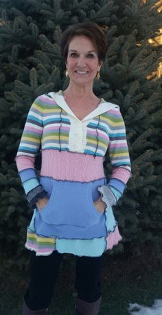 Fun Recycled Sweater Hoodie by WearableArtbyDenise on Etsy