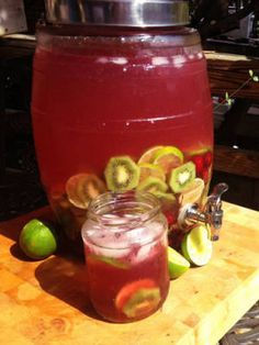 Cherry Bomb punch:  12 Limes, sliced | 12 Kiwis, peeled and sliced | 2 # Cherries | 16 oz. POM Cherry Juice | 12 oz. agave nectar | 20 oz. lime juice | 22 oz. vodka | Smush cherries in punch bowl, add ice and remaining ingredients.  Stir.