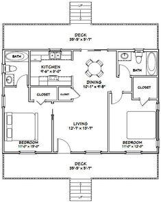 2 Bedroom House Plans, Cabin House Plans, Beach House Plans, Craftsman House Plans, Dream House Plans, 2 Bedroom House Design, The Plan, How To Plan, Small House Floor Plans