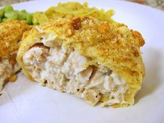 Chicken Crescent Squares - another quick & easy weeknight meal if chicken is pre-cooked... (added some pesto to the chicken mixture, left off the croutons and brushed the top with a little melted butter then sprinkled with italian seasoning & parmesan cheese)