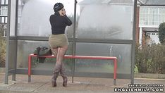 Sexy ass English MILF Daniella out in public in her micro mini skirt, seamed fishnet pantyhose tights and boots.