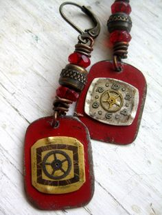 Handmade Assemblage Red Steampunk Folk Art Tin Earrings