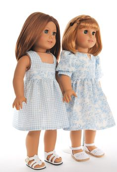 "American Girl doll clothes - 18"" inch dolls clothing, jumper and dress in blue gingham and flowers, outfit, 2 piece set"
