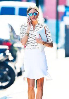 **White on White ~ Black dot white blouse with white skirt