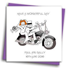 Harley Biker Wedding Card Personalised Wedding Cards, Old Couples, Bride Hairstyles, Anniversary Cards, Color Themes, Wedding Stationery, Wedding Designs, Free Design, Biker
