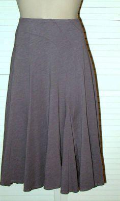 GARNET HILL COTTON MODAL GORED SKIRT Size S Mushroom Taupe NWOT