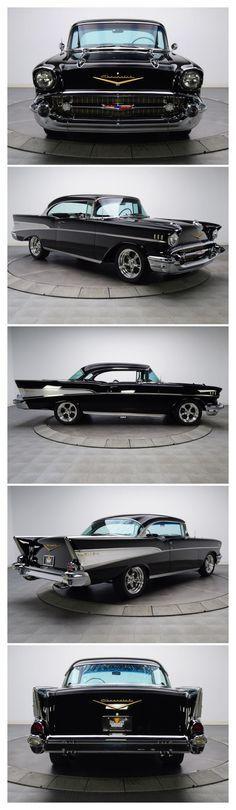 1957 Chevrolet Bel-Air hardtop hotrod in black . Chevrolet Bel Air, Chevrolet Camaro, Buick, Cadillac, Moto Collection, Vintage Cars, Antique Cars, Car Car, Hot Cars