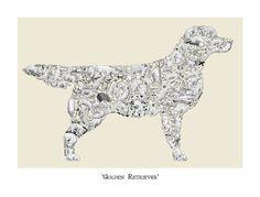 Dog Lover Gift  Golden Retriever Art Print by LouTateIllustration, £35.00. #dog #dogart #retriever