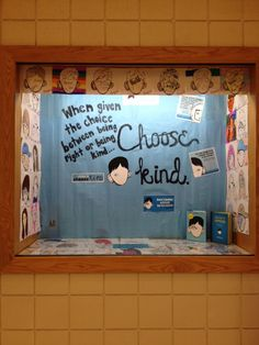 Sharing our Wonder-ful kindness projects with the school by spreading into the hall. Here is the display case created by team fifth. Random Act of Kindness cards have been added. Read the post about our kindness journey. Wonder, R.J. Palacio