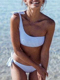One Shoulder Bikini 2018 Women Stripe Print Swimwear Push Up Swimsuit Brazilian Bikinis XL Biquini Bow Bath Suit Maillot De Bain Bikini Sets, Push Up Bikini, Bikini Swimwear, Bikini Beach, Bikini Girls, Swimwear Fashion, Swimwear Sale, Bandeau Bikini, Triangle Bikini