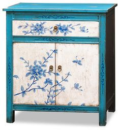 Hand Painted Tibetan Floral Motif Cabinet   Asian   Furniture   By .