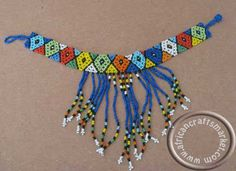 Zulu beaded necklace - blue