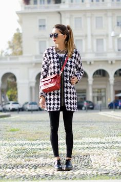 Fashion Hooded Toggle Houndstooth Coat Women fashion style clothing outfit pants black leggings shoes sunglasses shoulder bag brown spring