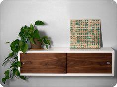 Floating Shelf Cabinet with Walnut Sliding Doors - Mid Century Modern Inspired