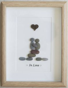 Pebble Art framed Picture  In Love