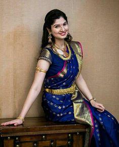 Beautiful Bride in Royal Blue Silk Saree Wedding Saree Blouse Designs, Pattu Saree Blouse Designs, Half Saree Designs, Wedding Sarees, Marathi Wedding, Bridal Sarees South Indian, Bridal Silk Saree, Blue Silk Saree, Soft Silk Sarees