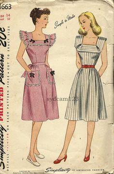 Inspiration: Vintage sundresses ruffle 1945 vintage dress color illustration print ad 40s fashions style dress sundress summer red white grey cute