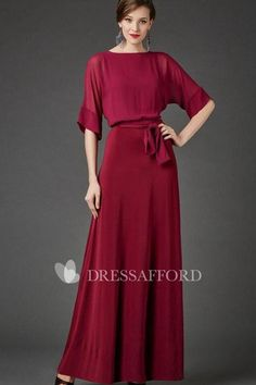 Shop affordable Bateau Neck Half Sleeve Chiffon Dress With Sash at June Bridals! Over 8000 Chic wedding, bridesmaid, prom dresses & more are on hot sale. Bridesmaid Dresses, Prom Dresses, Formal Dresses, Wedding Dresses, Bride Dresses, Fall Dresses, Long Dresses, Chiffon Dress Long, Illusion Dress