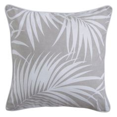 Set of 2 oasis cushions in palm grey fabric - hardtofind.