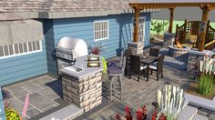 Pergola, Fire pit, Outdoor Living, Pavers, Seat Wall, Pillars, Retaining Wall, Stainless Kitchen, Grill, Great Room, 3D Design