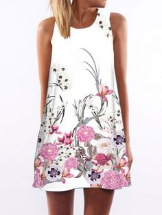 Vestido Corto Dibujo de Flores