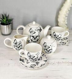 Gothic Tea Set Skull and Butterfly Ceramic Teaset Goth Cup Tea Cup Drawing, Afternoon Tea Set, Dream Tea, Sugar Pot, Home Workshop, Tea Pot Set, Mad Hatter Tea, Butterfly Design, Milk Jug
