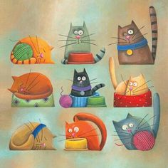 Carolina Farias - ilustradora - various cats. - I just think these cats are adorable! VFC : Carolina Farias - ilustradora - various cats. - I just think these cats are adorable! Cool Cats, I Love Cats, Crazy Cats, Silly Cats, Funny Cats, Photo Chat, Cat Quilt, Cat Colors, Here Kitty Kitty