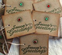 Seasons Greetings Christmas Tags