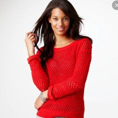 AMERICAN EAGKE fire red orange knit sweater Excellent condition, cute and comfy. Holiday season attire  American Eagle Outfitters Sweaters