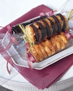 Achieve the same look of these cellophane wrapped cookies by snipping off the closed end of a cellophane bag, sliding in your cookies and tying both ends off with ribbon. #holidayentertaining