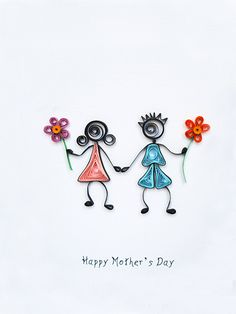 Happy Mothers Day quilled card colourful floral by szalonaisa, $8.50
