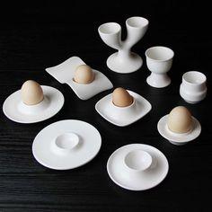 Restaurant hotel porcelain egg holder for modern home ceramic white egg cup egg tray creative dinnerware set